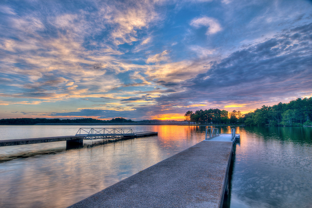 A warm sunset across the Little Tennessee River at the Tellico Ram Recreation Area in Lenoir City, Tennessee on Friday, July 14, 2017. Copyright 2017 Jason Barnette