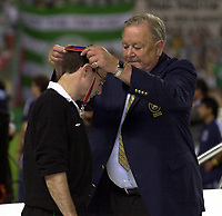 Photo: Greig Cowie<br /> Celtic v Porto. UEFA Cup Final. Seville. 21/05/2003<br /> Martin O'Neill recieves his losers medal