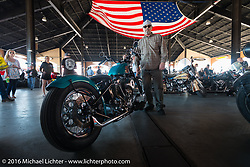 """Ken Napier with his 1963 Panhead at Warren Lane's """"True Grit"""" pre-1977 vintage show in the Jester's Pavillion at Destination Daytona during the Daytona Bike Week 75th Anniversary event. FL, USA. Sunday March 6, 2016.  Photography ©2016 Michael Lichter."""