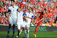 Gareth Bale of Wales ® watches as his shot at goal just misses.. Euro 2016 qualifying match, Wales v Israel at the Cardiff city stadium in Cardiff, South Wales on Sunday 6th Sept 2015.  pic by Andrew Orchard, Andrew Orchard sports photography.