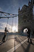 Violinist Yury Revich performs solo on a Stradivari violin from the year 1709 (estimated worth of €8 million euros) at the Tower Bridge of London on Wednesday, Dec 16, 2020. <br /> <br /> He is protesting against heavy automotive traffic pollution while concert halls are held under the lockdown restrictions due to the coronavirus pandemic outbreak in Britain. <br /> Revich tuned into his violin for ten minutes, which he says that it is 'an artistic statement against car pollution, while concert halls are being closed', adding that the venues are closed but the music isn't. (VXP Photo/ Giovanni Strondl)