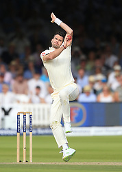 England's James Anderson during day two of the First Investec Test match at Lord's, London. PRESS ASSOCIATION Photo. Picture date: Friday July 7, 2017. See PA story CRICKET England. Photo credit should read: Nigel French/PA Wire. RESTRICTIONS: Editorial use only. No commercial use without prior written consent of the ECB. Still image use only. No moving images to emulate broadcast. No removing or obscuring of sponsor logos.