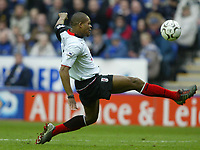 Fotball<br /> Premier League 2004<br /> 10.03.2004<br /> Leicester v Fulham<br /> NORWAY ONLY<br /> <br /> COLLINS JOHN LOBS THE KEEPER TO SCORE HIOS OPENER