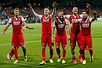 ALMELO - 09-08-2014 - Heracles - AZ, Polman Stadion, 0-3, AZ speler Celso Ortiz (r), AZ speler Nemanja Gudelj (2vr), AZ speler Mattias Johansson (m), AZ speler Jeffrey Gouweleeuw (2vl) en AZ speler Markus Henriksen (l) vieren na afloop een feestje.