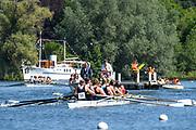 Henley. Berks, United Kingdom. Heat of the women's Eights, Auriol Kensington, AK RC<br /> <br /> 2017 Henley' Women's Regatta. Rowing on, Henley Reach. River Thames. <br /> <br /> <br /> Saturday  17/06/2017<br /> <br /> <br /> [Mandatory Credit Peter SPURRIER/Intersport Images]