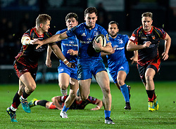 Conor O'Brien of Leinster evades the tackle of  Hallam Amos of Dragons<br /> <br /> Photographer Simon King/Replay Images<br /> <br /> Guinness PRO14 Round 10 - Dragons v Leinster - Saturday 1st December 2018 - Rodney Parade - Newport<br /> <br /> World Copyright © Replay Images . All rights reserved. info@replayimages.co.uk - http://replayimages.co.uk