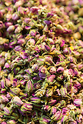 Traditional Jasmine speciality tea flowers in the Misir Carsisi Egyptian Bazaar food market in Istanbul, Turkey