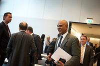 DEU, Deutschland, Germany, Berlin, 08.10.2013:<br />Der Schauspieler Charles Muhamed Huber (bekannt aus der ZDF-Serie Der Alte), der bei der Bundestagswahl 2013 für die CDU in den 18. deutschen Bundestag gewählt wurde, hier vor Beginn einer Fraktionssitzung im Deutschen Bundestag.