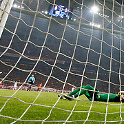 Real Madrid's Cristiano Ronaldo (L) scores during their UEFA Champions League Quarter-finals, Second leg match Galatasaray between Real Madrid at the TT Arena AliSamiYen Spor Kompleksi in Istanbul, Turkey on Tuesday 09 April 2013. Photo by Aykut AKICI/TURKPIX