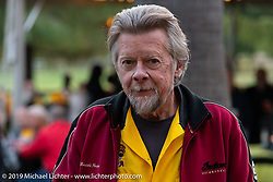 Arlin Fatland at the home of Kim and Jon Borneman after the Arlen Ness Memorial - Celebration of Life. Pleasanton, CA, USA. Saturday, April 27, 2019. Photography ©2019 Michael Lichter.