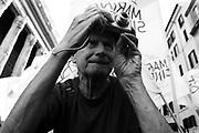 Un sostenitore di Ignazio Marino a Piazza di Pietra durante i festeggiamenti per l'elezione del candidato PD a sindaco di Roma<br /> Roma - 10 giugno 2013. Matteo Ciambelli / OneShot