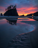 Colorful clouds at sunset, Second Beach, Olympic National Park, WA, USA