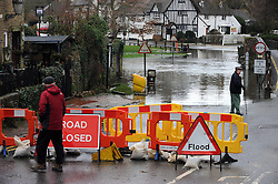 © Licensed to London News Pictures. 11/02/2014<br /> The river Darent in Eynsford, Kent  has flooded the Ford and Riverside closing the road.<br /> The bad weather continues today (11.02.2014) flooding parts of Kent with high winds and more rain to come this week.<br /> Photo credit :Grant Falvey/LNP