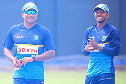July 6, 2018 - Sri Lanka - Sri Lankan cricker rangana herath(L) and Akila Dananjaya(R) looks on at a practice session at the R.Premadasa Stadium in Colombo on July 6, 2018. Sri Lanka and  South Africa will play two Tests, five 50-over One-Day Internationals (ODIs), and one T20 in Sri Lanka between July 12 and August 14. The first Test between South African and Sri Lanka will be played on July 12 at the Galle International Cricket Stadium in Galle. (Credit Image: © Lahiru Harshana/Pacific Press via ZUMA Wire)
