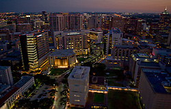 Aerial view of MD Anderson Cancer Center in the Texas Medical Center in Houston at dusk.