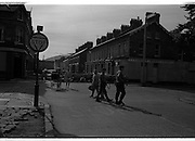 View of Belfast Barricades - Falls Rd, Clonard, bombay st, nationalists, homes burned,  <br />