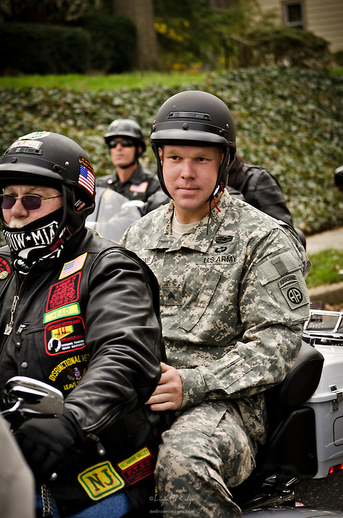 Jacob Newcomb receives a tribute welcome home from Warriors' Watch and others. Heading out for the ride.