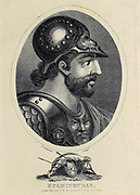 Epaminondas (c.418 BC – 362 BC) was a Greek general (strategos/Boeotarch) of Thebes and statesman of the 4th century BC who transformed the Ancient Greek city-state of Thebes, leading it out of Spartan subjugation into a pre-eminent position in Greek politics called the Theban Hegemony. Copperplate engraving From the Encyclopaedia Londinensis or, Universal dictionary of arts, sciences, and literature; Volume VIII;  Edited by Wilkes, John. Published in London in 1810.