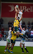 England second-row Huw Taylor collects a line-out throw with England's Jack Willis during the World Rugby U20 Championship  match England U20 -V- Australia U20 at The AJ Bell Stadium, Salford, Greater Manchester, England on June  15  2016, (Steve Flynn/Image of Sport)