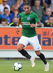 """Brightons Anthony Knockaert during a pre season friendly match at The Cherry Red Records Stadium, Kingston Upon Thames. PRESS ASSOCIATION Photo. Picture date: Saturday July 21, 2018. Photo credit should read: Mark Kerton/PA Wire. EDITORIAL USE ONLY No use with unauthorised audio, video, data, fixture lists, club/league logos or """"live"""" services. Online in-match use limited to 75 images, no video emulation. No use in betting, games or single club/league/player publications."""