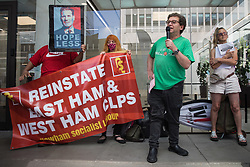 London, UK. 20th July, 2021. Activist Tony Greenstein addresses supporters of left-wing Labour Party groups at a protest lobby outside the party's headquarters. The lobby was organised to coincide with a Labour Party National Executive Committee meeting during which it was asked to proscribe four organisations, Resist, Labour Against the Witchhunt, Labour In Exile and Socialist Appeal, members of which could then be automatically expelled from the Labour Party.