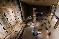 Overview of slurry wall segment and  the Last Column from Ground Zero, National September 11 Memorial & Museum, New York, New York USA.