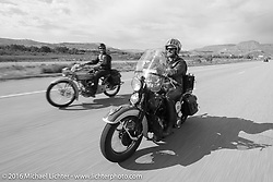 Paul D'Orleans riding Bryan Bossier's 1933 Brough Superior 11-50 passes Thomas Trapp (of Frankfurt, Germany) near Grand Junction, Colorado during Stage 10 (278 miles) of the Motorcycle Cannonball Cross-Country Endurance Run, which on this day ran from Golden to Grand Junction, CO., USA. Monday, September 15, 2014.  Photography ©2014 Michael Lichter.