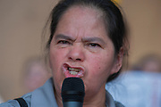 Margarita Alvarez, a native of Guatemala who has lived in the US for 28 years unleashes a fiery and emotinal challenge to the Trump Administarion's racist policies against immigrants, during the Families Belong Together protest in front of Dallas City Hall. Alvarez works two jobs to help support her family.
