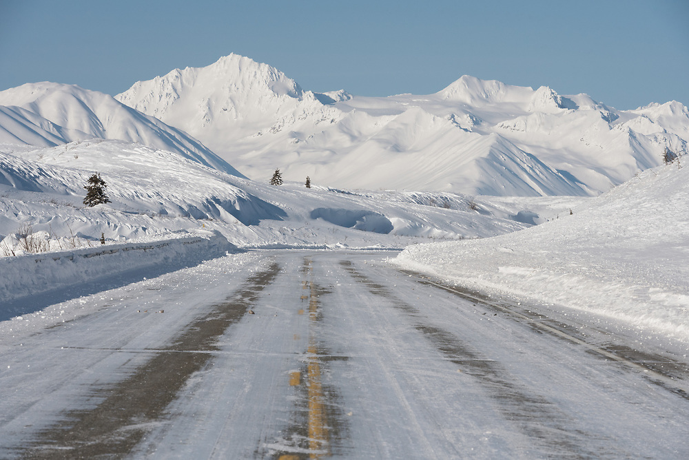 A freshly plowed Richardson Highway in March 2020.