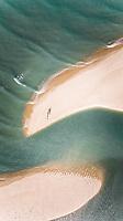 Aerial view of Jericoacoara sandy beach in Brazil.
