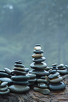 Beach rocks balanced on log at Ruby Beach in Olympic National Park, WA