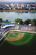 Harrisburg city island, Baseball Park, Susquehanna River Aerial, Historic Photo 1995
