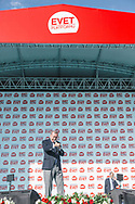 Turkish President Recep Tayyip Erdogan addresses the large crowds at an AKP rally in Izmir, Turkey, supporting a 'YES' vote in the upcoming constitutional referendum.