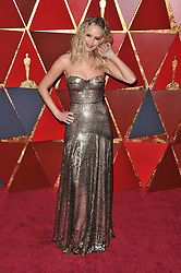 Jennifer Lawrence walking on the red carpet during the 90th Academy Awards ceremony, presented by the Academy of Motion Picture Arts and Sciences, held at the Dolby Theatre in Hollywood, California on March 4, 2018. (Photo by Sthanlee Mirador/Sipa USA)