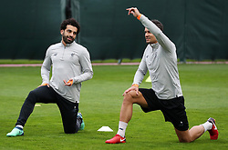 Liverpool's Mohamed Salah and Dejan Lovren during a training session at Melwood Training Ground, Liverpool.