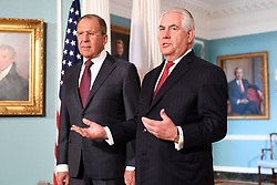 May 10, 2017 - Washington, United States of America - U.S. Secretary of State Rex Tillerson and Russian Foreign Minister Sergey Lavrov speak to the press before bilateral talks at the State Department May 10, 2017 in Washington, D.C. The meeting takes place the day after President Donald Trump fired the director of the FBI investigating connections between the administration and the Russian Government. (Credit Image: © Glen Johnson/Planet Pix via ZUMA Wire)