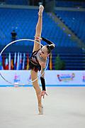 Ashirbayeva Sabina during qualifying hoop in Pesaro World Cup 10 April 2015.<br /> Sabina born on November 5, 1998 in Shymkent, she is an individual Kazakh rhythmic gymnast.