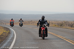 Jim Petty riding his 1927 Indian Chief during Stage 13 (257 miles) of the Motorcycle Cannonball Cross-Country Endurance Run, which on this day ran from Elko, NV to Meridian, Idaho, USA. Thursday, September 18, 2014.  Photography ©2014 Michael Lichter.