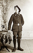 young adult male person posing in military uniform France 1910s