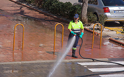 April 18, 2018 - Denia   Denia, Spain   Espagne - High pressure streets cleaning   Nettoyage haute pression 18/04/2018 (Credit Image: © Patrick Lefevre/Belga via ZUMA Press)