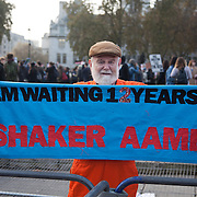 Save Shaker Aamer vigil at Parliament Square. Shaker Ameer is a Guantanamo prisoner and every Wednesday Stop the War Coalition holds a vigil outside Parliament.