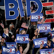 Supporters react to projections of Democratic presidential candidate Joe Biden winning the South Carolina primary during an event at the University of South Carolina's Carolina Volleyball Center in Columbia, S.C., on Saturday, February 29, 2020