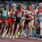 Athletes in action during the Women's 1500m Semi-Final at the Olympic Stadium, Olympic Park, during the London 2012 Olympic games. London, UK. 8th August 2012. Photo Tim Clayton