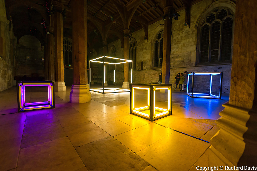One of many of the light displays at York when I visited. Large cubes of colorful light.