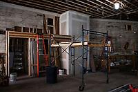 Colonial Theater restoration work.  Stenciling under balcony.  Canal Street Annex.  ©2020 Karen Bobotas Photographer