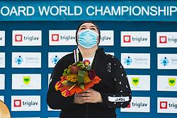 Sofia Nadyrshina (RSF) during medal ceremony after parallel slalom FIS Snowboard Alpine World Championships 2021 on March 2nd 2021 on Rogla, Slovenia. Photo by Grega Valancic / Sportida