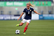 Kirsty Smith (#2) of Scotland plays a short pass during the FIFA Women's World Cup UEFA Qualifier match between Scotland Women and Belarus Women at Falkirk Stadium, Falkirk, Scotland on 7 June 2018. Picture by Craig Doyle.