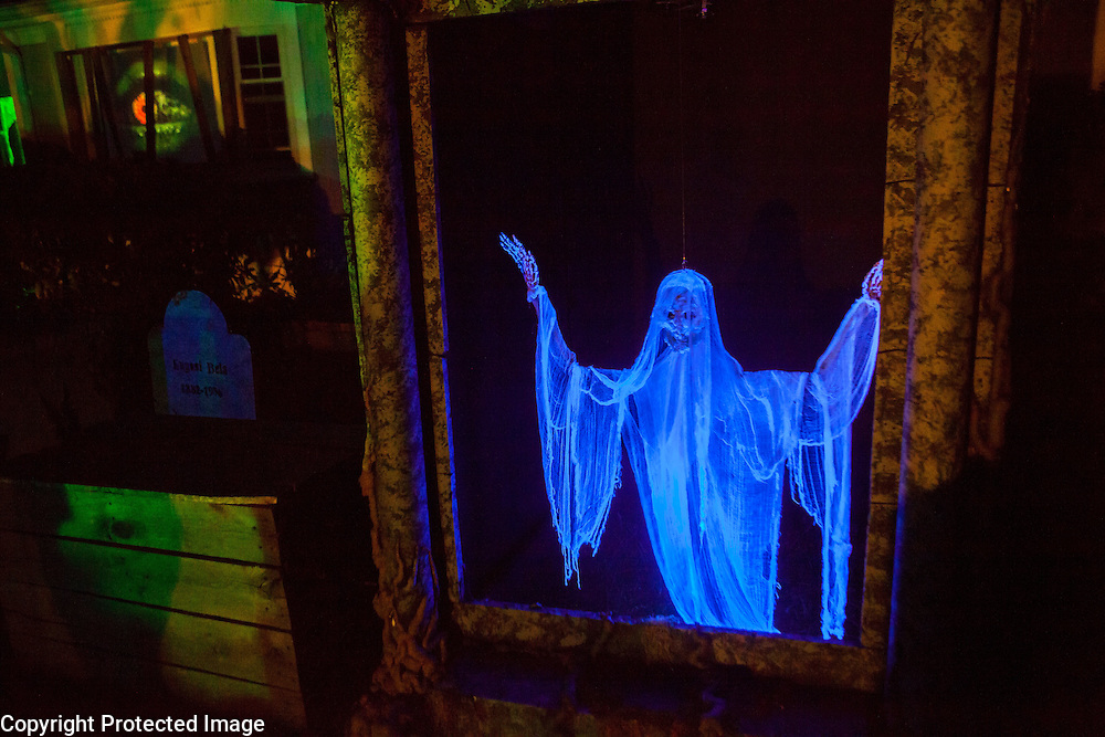 """An animated skeleton in Chris Baker's haunted yard in South Yarmouth, MA. Every year Baker sets up an elaborate Halloween display in his yard and on Halloween, neighborohood residents walk through his frightening """"vortex"""" of horror while trick or treating."""
