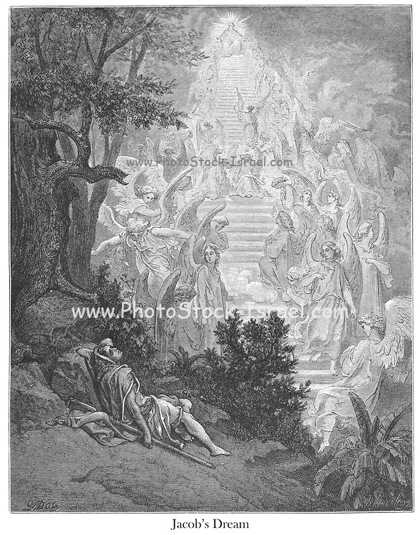 Jacob's Dream Genesis 28:12 From the book 'Bible Gallery' Illustrated by Gustave Dore with Memoir of Doré and Descriptive Letter-press by Talbot W. Chambers D.D. Published by Cassell & Company Limited in London and simultaneously by Mame in Tours, France in 1866