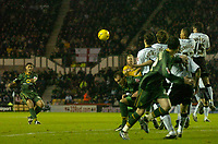 Photo: Glyn Thomas.<br />Derby County v Norwich City. Coca Cola Championship.<br />03/12/2005.<br />Norwich's Youssef Safri (L) takes a free kick but it hits the crossbar.
